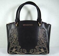 Michael Kors Ellis Small Convertible Satchel Leather Crossbody Bag in Black