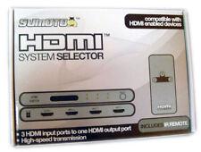 HDMI 3 Port Switch AV System Selector HDTV w/Remote NEW