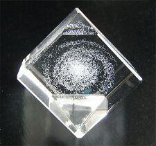 "SPIRAL GALAXY (Milky Way) 3-D Laser-etched cut-glass crystal 1"" Cube TAKARA 2004"