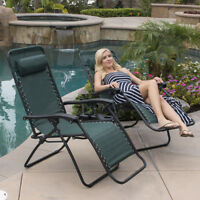 Zero Gravity Chairs Case Of (2) Green Lounge Patio Chair Outdoor Yard Beach Pool