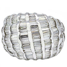 3.85 Quilate Corte Baguette Diamante Anillo De Cóctel Platino