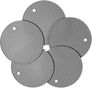 NEW Silicone Pot Holders Trivets Mat, 5-Pack Heat Resistant Hot Pads Gray