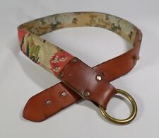 Lucky Brand Hip Belt Leather Textile Flower BURUR344 34 36