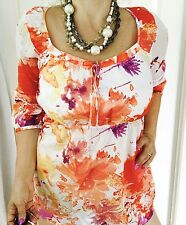 ESPRIT WOMENS  TUNIC FLORAL PRINT 3/4 Sleeves Work Party Sz 12