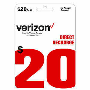 Verizon Wireless- $20 Refill,  Top-Up Airtime Card for Verizon Prepaid Service