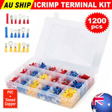 1200PCS Insulated Crimp Terminals Electrical Wire Port Connectors Spade Ring Kit
