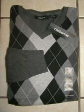 NWT $50 Mens  Claiborne 100% Cotton V-Neck Argyll Sweater Charcoal Heather Sz M