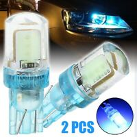 2Pcs T10 194 W5W COB LED Car Silica License Plate Width Light Ice Blue Lamp Bulb