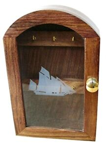 Maritime Key Box With Glass Front, Wood And Messingeinlagen- Sailor