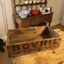 More details for vintage wooden storage box / crate – bovril is liquid life / repels chills –