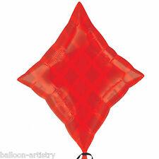 "24"" Casino Night Party Card Suit Red Diamond DIAMONDS Foil Jnr Shape Balloon"