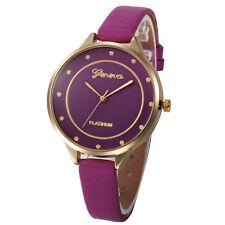 Ladies Fashion Geneva Platinum Quartz Gold Case Purple Slim Band Wrist Watch.