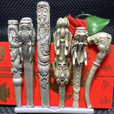 Tibetan Silver pipe Smoking Statue Sacred Dragon hand-made Tobacco rod 6pcs