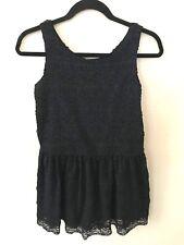 """Gap Kids Girls Juniors Size XXL 14-16 """"Kristen"""" Black A-Line Dress Lace Overlay"""