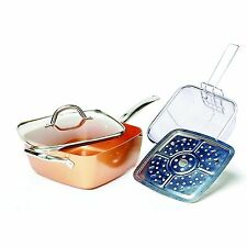 Copper Square Pan,Induction Chef Glass Lid,Fry Basket,Steam Rack,4piece set#&