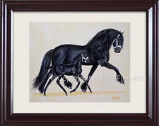 Framed black Friesian Horse Art - Mare & Foal painting - Cute - signed Rohde