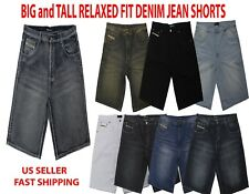 BIG AND TALL Denim Jean SHORTS Mens Relaxed Fit BLACK SOLID Raw Denim 44 - 54