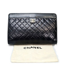 Chanel Matelasse Lambskin Women's Clutch Bag Black EX4657
