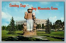 International Falls Minnesota MN Smokey The Bear Statue Postcard 1960s