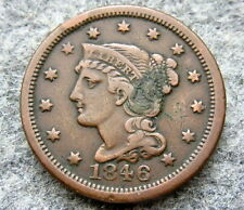 UNITED STATES 1846 ONE CENT, LIBERTY HEAD - BRAIDED HAIR, BETTER GRADE