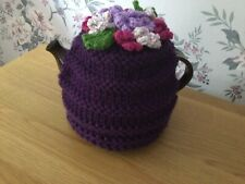 Hand Knitted Tea Cosy. New. Large. Deep Purple. Floral
