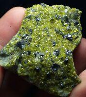 Magnetite having Andradite garnet crystal on back side & green epidote on matrix