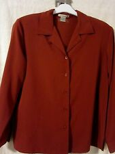 "QUALITY CHIC Rust Large 44"" Bust Silky L.S.Luxurious, Classic Blouse - New"