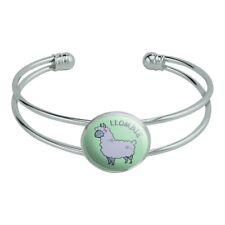 Llombie Llama Zombie Novelty Silver Plated Metal Cuff Bangle Bracelet