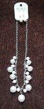 My Style Necklace & Pierced Earring Set Faux Pearls on Silvertone Chain