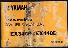 1978 YAMAHA EX340B & EX440B SNOWMOBILE OWNERS MANUAL  (312)