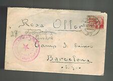 1937 Lerida Spain Civil War Censor Cover to Barcelona Brigada Mixta 32 w letter