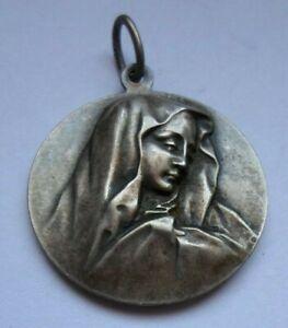 VIRGIN MARY/ ANTIQUE FRENCH RELIGIOUS CATHOLIC PENDANT MEDAL