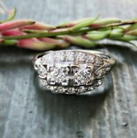 Victorian Edwardian Engagement Ring 1 Ct Round White Diamond 925 Sterling Silver