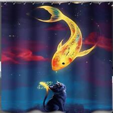 Yellow Fish Meets Black Cat Bathroom Shower Curtain 180cm x 180cm Polyester