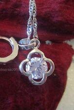 925 Silber- Blume- Zirkon- Halskette + Anhänger Geschenk, Hochzeit, Liebe NEU