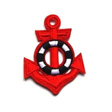 Red Anchor Patch Sailor Lifebuoy Navy Embroidered Iron Sew On Applique Badge Sea