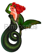 Sexy Redheaded Sea Witch Pinup Girl Redheaded Mermaid Waterslide Decals S985
