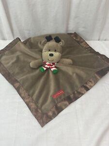 Carters Lovey Reindeer My 1st Christmas Brown Fleece Satin Security Blanket