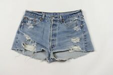 Vtg Levis Petros Womens 34 Destroyed Distressed Button Fly High Waisted Shorts