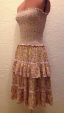 Free People Boho Floral Smocked Tiered Ruffle Strapless Dress S Urban Outfitters