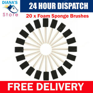 """20 X 1"""" Foam Sponge Brushes Wooden Handle Painting Drawing Craft Draw Tools Set"""