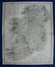 IRELAND, large original antique map, SDUK, published in 1844
