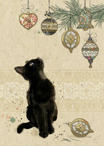 Bug Art Luxury Cat Single Christmas Card 'Kitten Decorations' Gold Foiled Blank