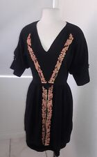 MAYLE 100% SILK BLACK enbroidered 3/4 sleeve  DRESS SIZE Small