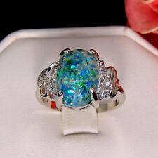 Sharla Beautiful Oval Shape Fire Green, Blue, Opal Ring Size 9