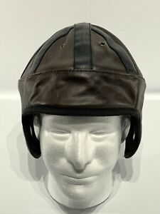 Vintage Style Faux Leather Football Helmet/Cap. Black Brown