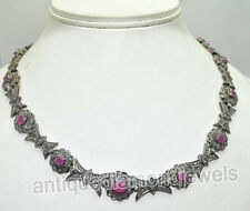 Victorian Look 925 Silver Necklace 10.25ct Rose Cut Diamond Ruby Antique
