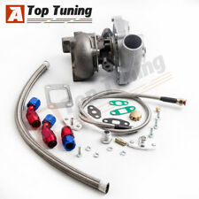 Universal Turbo T3T4 T04E A/R .50 A/R. 63 oil cold 5 bolt Flange + Oil Line Kits