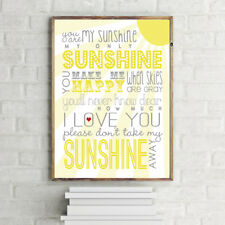 INSPIRATIONAL MOTIVATIONAL YOU ARE MY SUNSHINE YELLOW LOVE A4 POSTER PRINT