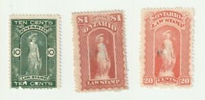 Canada Ontario Law Stamp Collection Selection 1870 1929 3 Used Stamps